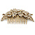 Oversized Bridal/ Wedding/ Prom/ Party Gold Plated Clear Crystal Triple Rose Floral Hair Comb - 110mm - view 11