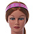 Wide Pink Leather Style Geometric Pattern Flex Alice/ Hair Band/ HeadBand - Adjustable - view 2