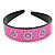 Wide Pink Leather Style Geometric Pattern Flex Alice/ Hair Band/ HeadBand - Adjustable - view 6