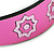 Wide Pink Leather Style Geometric Pattern Flex Alice/ Hair Band/ HeadBand - Adjustable - view 4