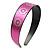 Wide Pink Leather Style Geometric Pattern Flex Alice/ Hair Band/ HeadBand - Adjustable