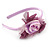 Thin Pink Silk Rose Flower Alice/ Hair Band/ HeadBand - view 4