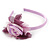 Thin Pink Silk Rose Flower Alice/ Hair Band/ HeadBand - view 5