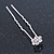 Bridal/ Wedding/ Prom/ Party Set Of 2 Clear & AB Crystal Daisy Flower Hair Pins In Silver Tone - view 5