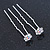Bridal/ Wedding/ Prom/ Party Set Of 2 Clear & AB Crystal Daisy Flower Hair Pins In Silver Tone - view 6
