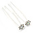 Bridal/ Wedding/ Prom/ Party Set Of 2 Clear & AB Crystal Daisy Flower Hair Pins In Silver Tone - view 7