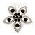 Bridal/ Prom/ Wedding/ Party Rhodium Plated Clear/ Black Austrian Crystal Flower Side Hair Comb - 55mm W
