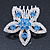 Bridal/ Prom/ Wedding/ Party Rhodium Plated Clear/ Light Blue Austrian Crystal Flower Side Hair Comb - 55mm W - view 3