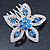 Bridal/ Prom/ Wedding/ Party Rhodium Plated Clear/ Light Blue Austrian Crystal Flower Side Hair Comb - 55mm W - view 7