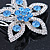 Bridal/ Prom/ Wedding/ Party Rhodium Plated Clear/ Light Blue Austrian Crystal Flower Side Hair Comb - 55mm W - view 4