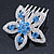 Bridal/ Prom/ Wedding/ Party Rhodium Plated Clear/ Light Blue Austrian Crystal Flower Side Hair Comb - 55mm W - view 8