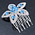 Bridal/ Prom/ Wedding/ Party Rhodium Plated Clear/ Light Blue Austrian Crystal Flower Side Hair Comb - 55mm W - view 5