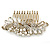 Oversized Bridal/ Wedding/ Prom/ Party Antique Gold Crystal, Pearl Floral Hair Comb - 100mm - view 9
