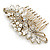 Oversized Bridal/ Wedding/ Prom/ Party Antique Gold Crystal, Pearl Floral Hair Comb - 100mm - view 10
