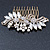 Oversized Bridal/ Wedding/ Prom/ Party Antique Gold Crystal, Pearl Floral Hair Comb - 100mm - view 6