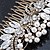Oversized Bridal/ Wedding/ Prom/ Party Antique Gold Crystal, Pearl Floral Hair Comb - 100mm - view 4