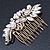 Oversized Bridal/ Wedding/ Prom/ Party Antique Gold Crystal, Pearl Floral Hair Comb - 100mm - view 8