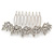 Bridal/ Prom/ Wedding/ Party Rhodium Plated Clear Austrian Crystal Floral Side Hair Comb - 8cm W - view 8