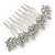 Bridal/ Prom/ Wedding/ Party Rhodium Plated Clear Austrian Crystal Floral Side Hair Comb - 8cm W