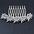 Bridal/ Prom/ Wedding/ Party Rhodium Plated Clear Austrian Crystal Floral Side Hair Comb - 8cm W - view 7