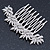 Bridal/ Prom/ Wedding/ Party Rhodium Plated Clear Austrian Crystal Floral Side Hair Comb - 8cm W - view 4