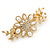 Gold Tone, Clear Crystal Floral Barrette Hair Clip Grip - 80mm Across - view 2