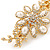 Gold Tone, Clear Crystal Floral Barrette Hair Clip Grip - 80mm Across - view 9