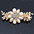 Gold Tone, Clear Crystal Floral Barrette Hair Clip Grip - 80mm Across - view 10