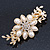 Gold Tone, Clear Crystal Floral Barrette Hair Clip Grip - 80mm Across - view 11