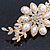 Gold Tone, Clear Crystal Floral Barrette Hair Clip Grip - 80mm Across - view 5