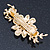 Gold Tone, Clear Crystal Floral Barrette Hair Clip Grip - 80mm Across - view 6