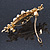 Gold Tone, Clear Crystal Floral Barrette Hair Clip Grip - 80mm Across - view 7