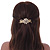 Gold Tone, Clear Crystal Floral Barrette Hair Clip Grip - 80mm Across - view 3