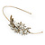 Vintage Inspired Wedding/ Prom/ Bridal White Glass Pearl, Clear Crystal Tiara Headband In Gold Plated Metal