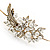 Vintage Inspired Wedding/ Prom/ Bridal White Glass Pearl, Clear Crystal Tiara Headband In Gold Plated Metal - view 4