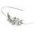 Bridal/ Wedding/ Prom Rhodium Plated White Glass Pearl, Crystal Tiara Headband