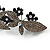 Crystal Double Butterfly Barrette Hair Clip Grip In Gunmetal Finish (Dim Grey, Dark Blue) - 85mm Across - view 5