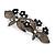 Crystal Double Butterfly Barrette Hair Clip Grip In Gunmetal Finish (Dim Grey, Dark Blue) - 85mm Across - view 2