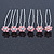 Bridal/ Wedding/ Prom/ Party Set Of 6 Pink Austrian Crystal Daisy Flower Hair Pins In Silver Tone - view 7