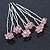 Bridal/ Wedding/ Prom/ Party Set Of 6 Pink Austrian Crystal Daisy Flower Hair Pins In Silver Tone - view 5