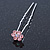 Bridal/ Wedding/ Prom/ Party Set Of 6 Pink Austrian Crystal Daisy Flower Hair Pins In Silver Tone - view 6
