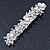 Bridal Wedding Prom Silver Tone Glass Pearl, Crystal Floral Barrette Hair Clip Grip - 90mm W - view 7