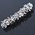 Bridal Wedding Prom Silver Tone Glass Pearl, Crystal Floral Barrette Hair Clip Grip - 90mm W - view 9