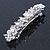 Bridal Wedding Prom Silver Tone Glass Pearl, Crystal Floral Barrette Hair Clip Grip - 90mm W - view 6