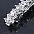 Bridal Wedding Prom Silver Tone Glass Pearl, Crystal Floral Barrette Hair Clip Grip - 90mm W - view 10