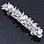 Bridal Wedding Prom Silver Tone Glass Pearl, Crystal Floral Barrette Hair Clip Grip - 90mm W - view 11