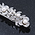 Bridal Wedding Prom Silver Tone Glass Pearl, Crystal Floral Barrette Hair Clip Grip - 90mm W - view 12