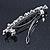 Bridal Wedding Prom Silver Tone Glass Pearl, Crystal Floral Barrette Hair Clip Grip - 90mm W - view 5