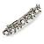 Bridal Wedding Prom Silver Tone Glass Pearl, Crystal Floral Barrette Hair Clip Grip - 90mm W - view 14