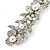 Bridal Wedding Prom Silver Tone Glass Pearl, Crystal Floral Barrette Hair Clip Grip - 90mm W - view 4